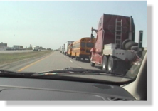 Trucks queuing for the US Border